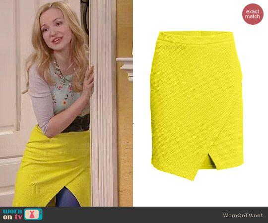 Liv's yellow textured wrap skirt on Liv and Maddie.  Outfit Details: http://wornontv.net/45946/ #LivandMaddie