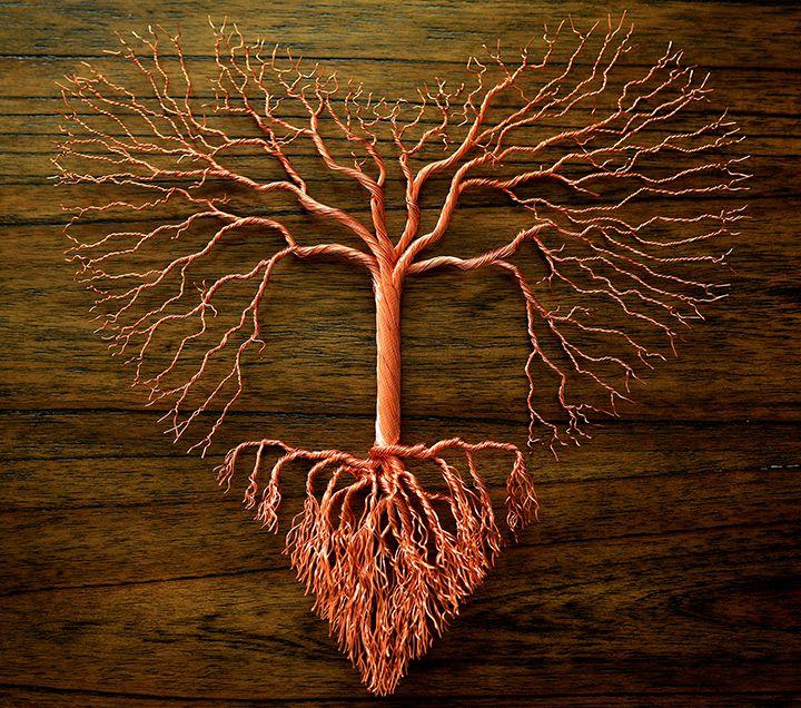 "1st Place - 3D Art Category - Marsha Drew - ""Tree of Love Copper Wire Wall Sculpture"" - www.twistedgypsyart.com"