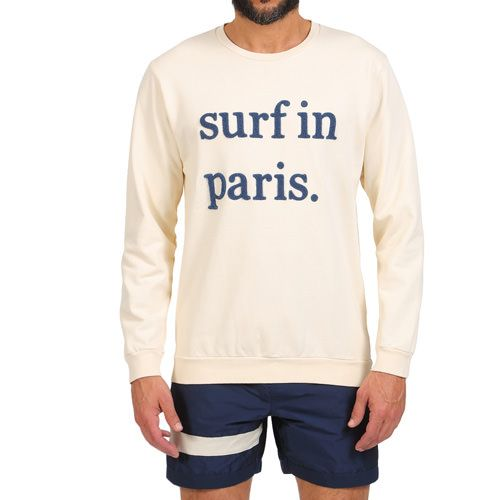 SURF IN PARIS SWEATSHIRT COLOR BEIGE Beige cotton scoop neck sweatshirt with 'Surf in Paris' cotton terry writing on front. Long sleeves, scoop neck. COMPOSITION: 100% COTTON. Model wears size L, he is 189 cm tall and weighs 86 Kg.