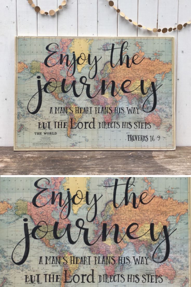 Large Wood Sign With Scripture Hand Painted Wooden Enjoy The Journey Quote Proverbs 16 9 Vintage Map Verse Woodfairysigns