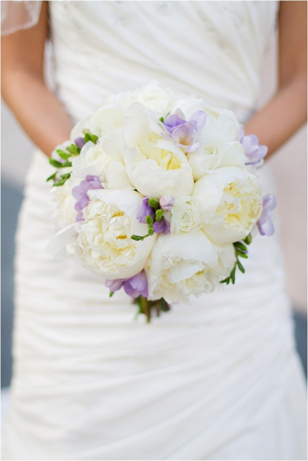 Beautiful lavender freesia and white peonies