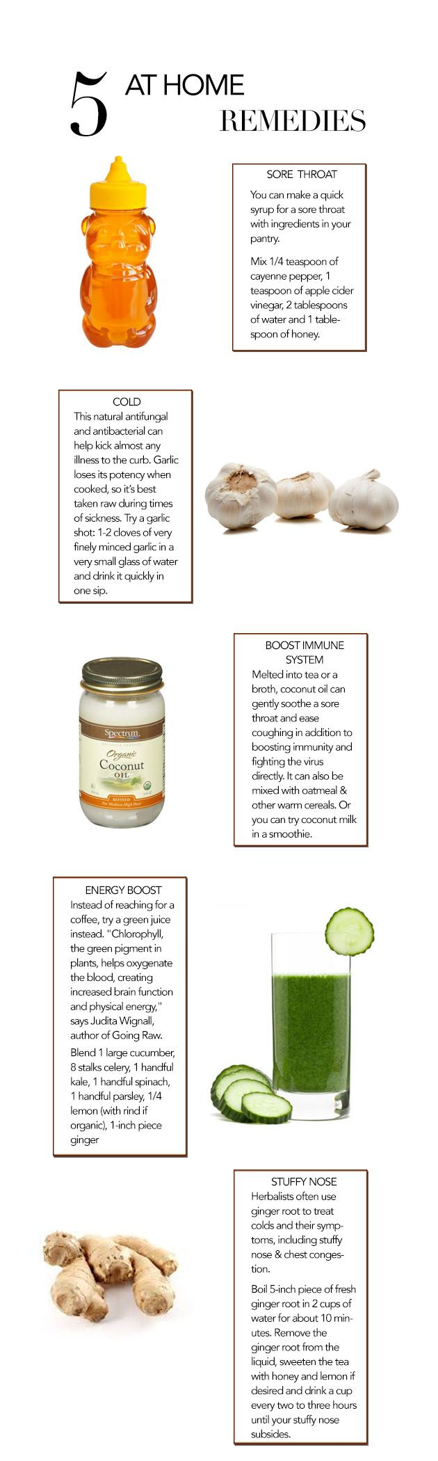 5 at home remedies for colds, flu, sore throat, & energy.
