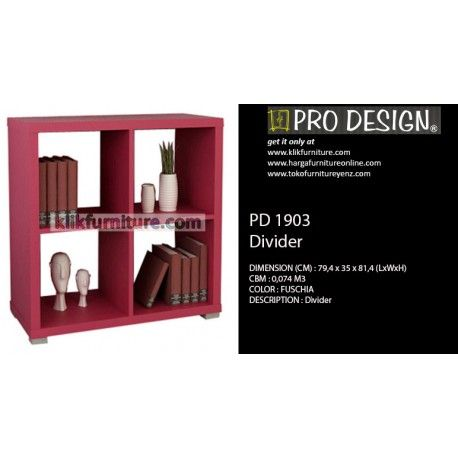 PD 1903 Sekat Divider Pro design Condition:  New product  DIMENSION (CM) :79,4 x 35 x 81,4 (LxWxH) COLORS : Fuschia DESCRIPTION :divider / sekat untuk ruang tamu