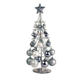 Árvore de Natal Prateada com Bolas