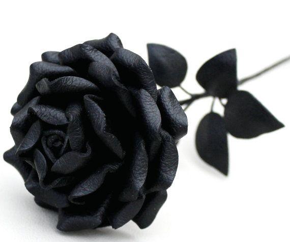 Noir en cuir Rose mariage / 3e anniversaire par Leatherblossoms, $56.00