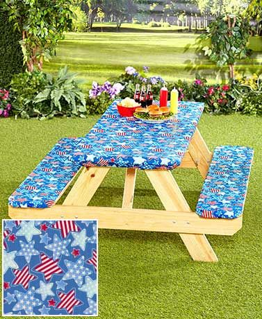 Add character to your next barbecue or camping trip with the vibrantly colored 3-Pc. Picnic Table Cover set. It's great for use on a picnic table in your backyard, forest preserve, parks or public picnic areas. Table cover and seat covers fit standard si