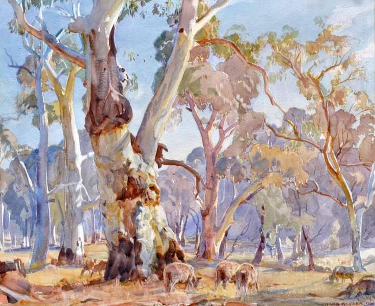 """The Red Gum, Late Summer"" by Sir Hans Heysen"