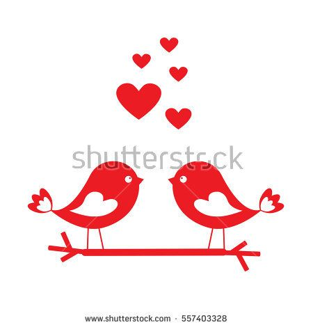 Love birds with red hearts - card for Valentine's day. Vector illustration
