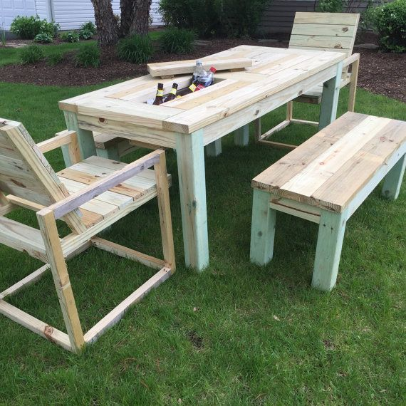 Patio Picnic Table with Drink Coolers от RepurposedByRob на Etsy