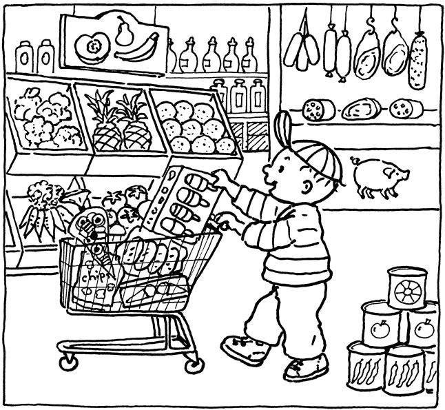 Thema supermarkt -> kleurplaat
