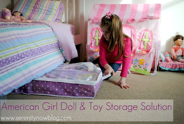 Such a GREAT idea to organize doll stuff under the bed! (We have plastic bins, but the kids can't get the tops off easily. These would be great with zippers! Thirty One has some, too!)