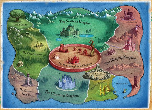Map showing kingdoms from Chris Colfer's 'The Land of Stories' series.