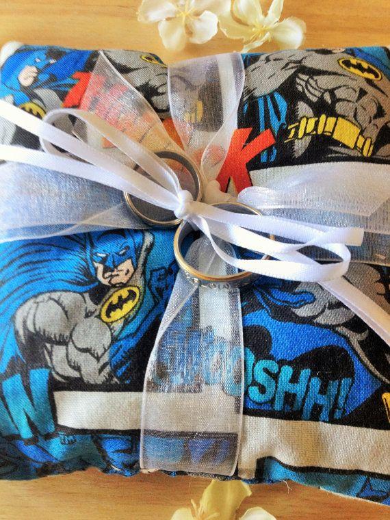 Batman Superhero Ring Bearer Pillow Ring Pillow by Flowcessories