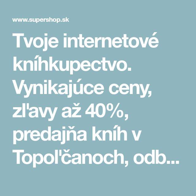 Tvoje internetové kníhkupectvo. Vynikajúce ceny, zľavy až 40%, predajňa kníh v Topoľčanoch, odberné miesta po celom Slovensku vrátane balíkomatov. Široká ponuka i zahraničnej literatúry, rýchle odoslanie, knihy aj v angličtine a češtine, vrátane . V ponuke máme aj odborné knihy - military, letectvo, história, počítače, modelárstvo, poľovníctvo, rybárstvo, kynológia, knihy o umení, všetko čo len hľadáte. Beletriu, , detské knihy aj bohatá ponuka ezoteriky.