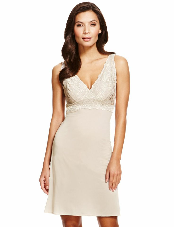 This lace full slip is very feminine and the fawn colour can be worn under all colours of dresses and skirts. Marks and Spencer. €30.00