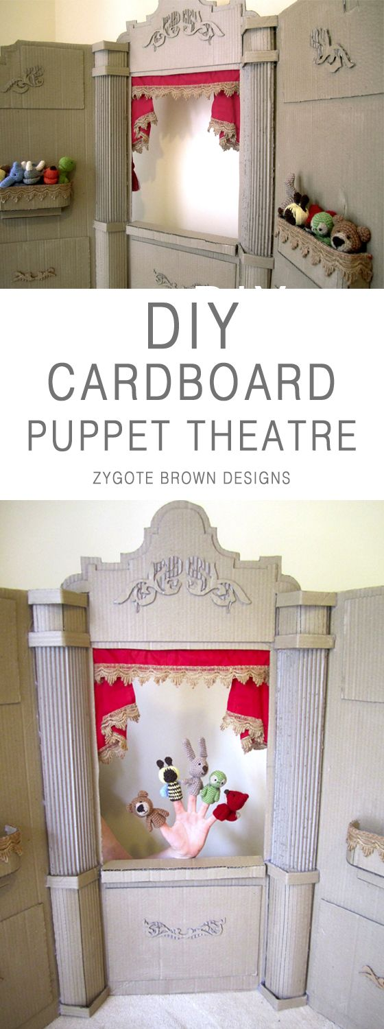 DIY Cardboard Puppet Theatre - Theater for kids puppet shows by Zygote Brown Designs