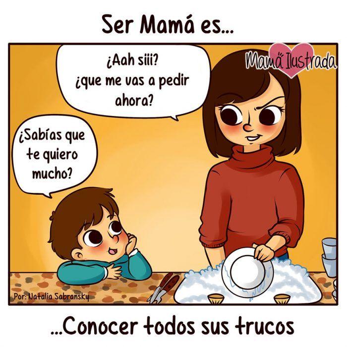 Ilustración mamá lavando platos