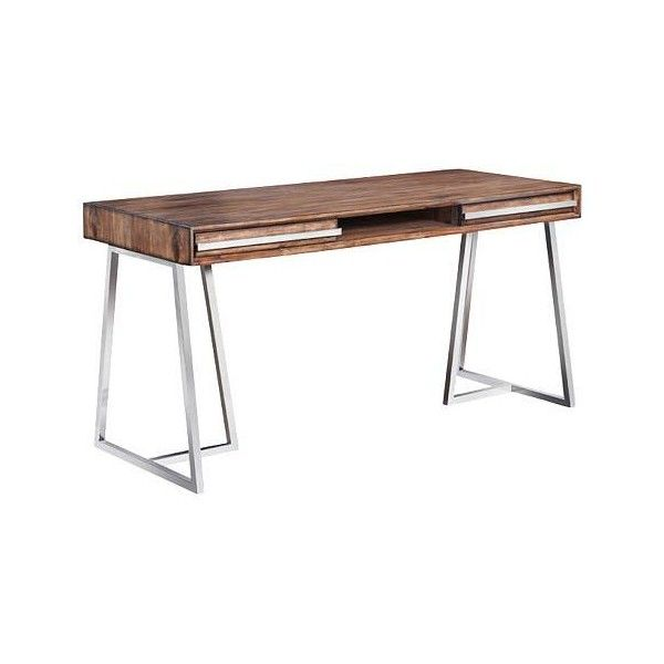 Alma Polished 2-Drawer Stainless Steel Acacia Wood Top Desk (3,375 MYR) ❤ liked on Polyvore featuring home, furniture, desks, stainless steel furniture, polish furniture, brown's furniture, stainless furniture and acacia wood furniture