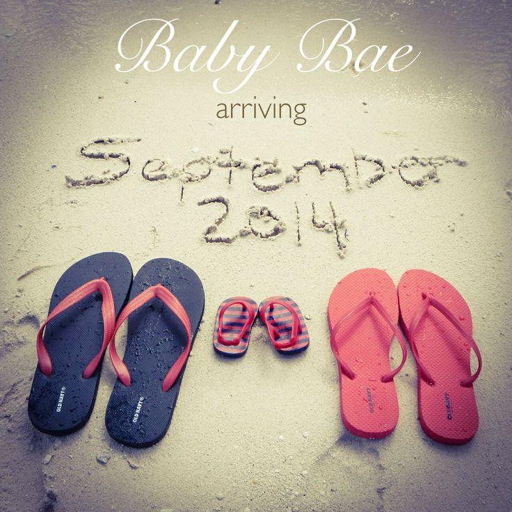 Baby pregnancy announcement beach flip flops