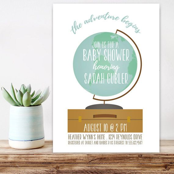 23 best map / travel / adventure / baby shower images on pinterest, Baby shower invitations