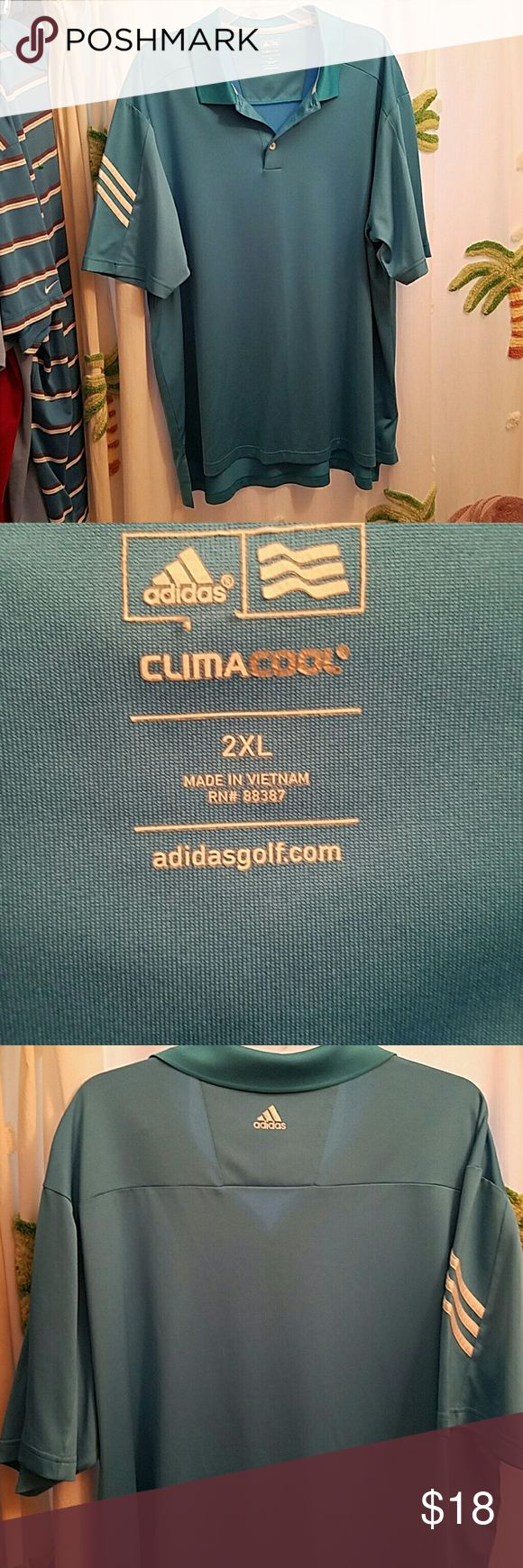Adidas mens golf shirt size 2XL Adidas climacool men's golf shirt size 2XL in EUC. I do discount if you bundle 2 or more Adidas Shirts Polos