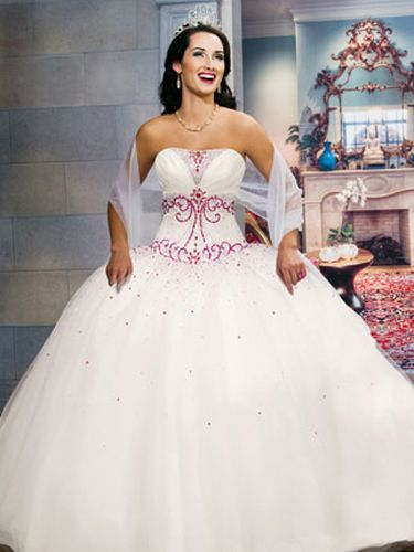 White Quinceanera Dresses - Princess Dress With Pink Details On Bodice