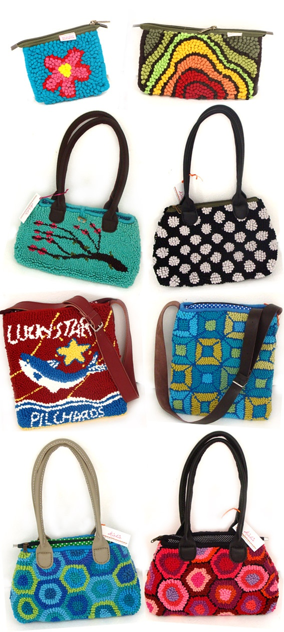 "Funky Bags from ""Mielie"" run by Adri Schutz in Cape Town and using reclaimed materials."