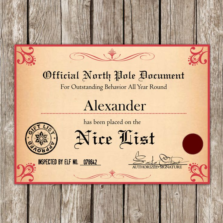 Santa's Nice List Certificate from the North Pole