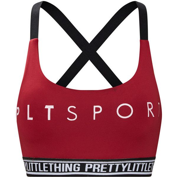 PrettyLittleThing Burgundy Sport Crop Top ($25) ❤ liked on Polyvore featuring tops, crop top, red crop tops, red top, burgundy crop top and sports tops