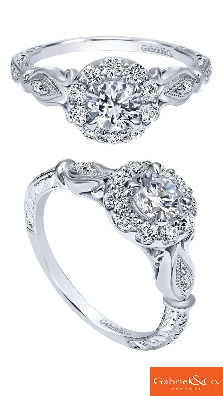 A Gorgeous 14k White Gold Diamond Halo Engagement Ring By Gabriel & Co's  Adore Collection