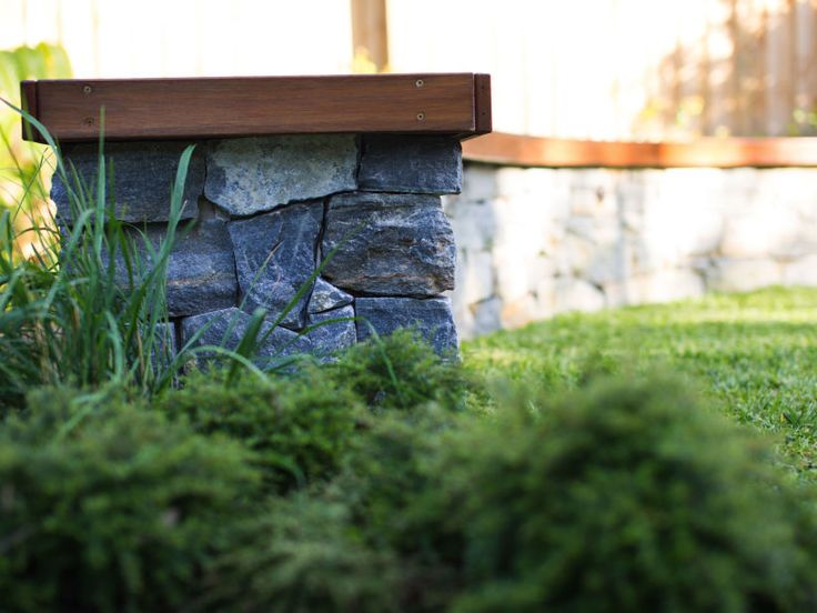 Stone cladding with timber seat