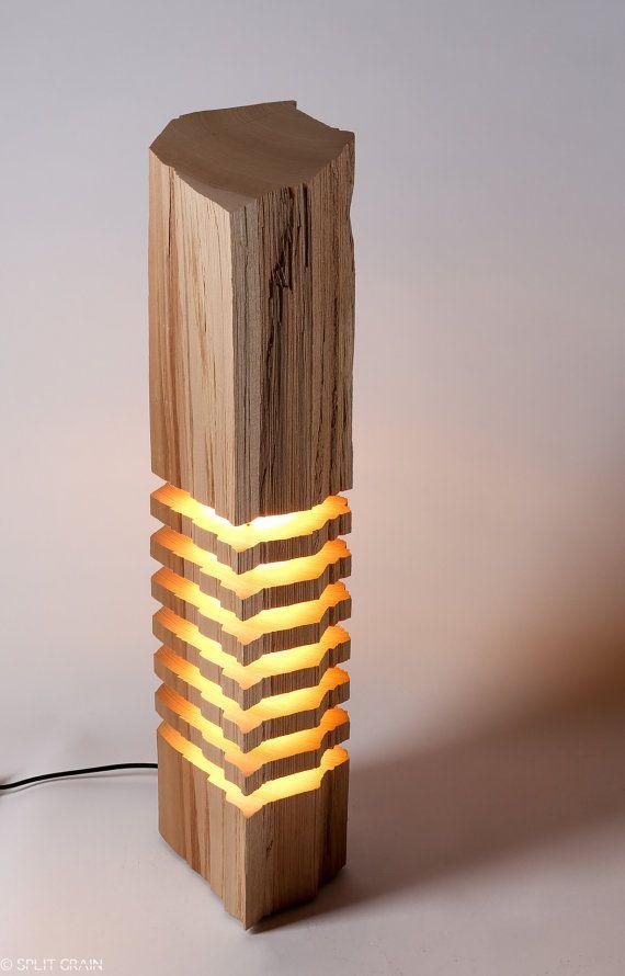 Illuminazione moderna legno scultura di luce di SplitGrain su Etsy