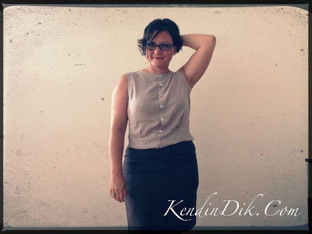 retro blouse beige vintage sewing patterns 1950s fashion / 1950ler modası bluz dikiş blog