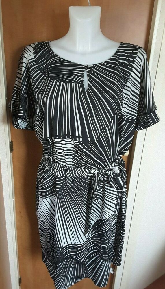 New M/&S Womens Ladies White Blue Striped Summer Dress Size 8 10