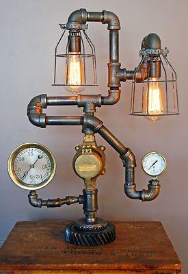 Steampunk Gear Lamp Light Industrial Art Machine Age Salvage Steam Gauge | eBay