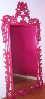 Hot Pink full length mirror mounted on closet door!