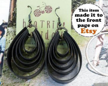 Great upcycling here. Earings from inner bike tubes