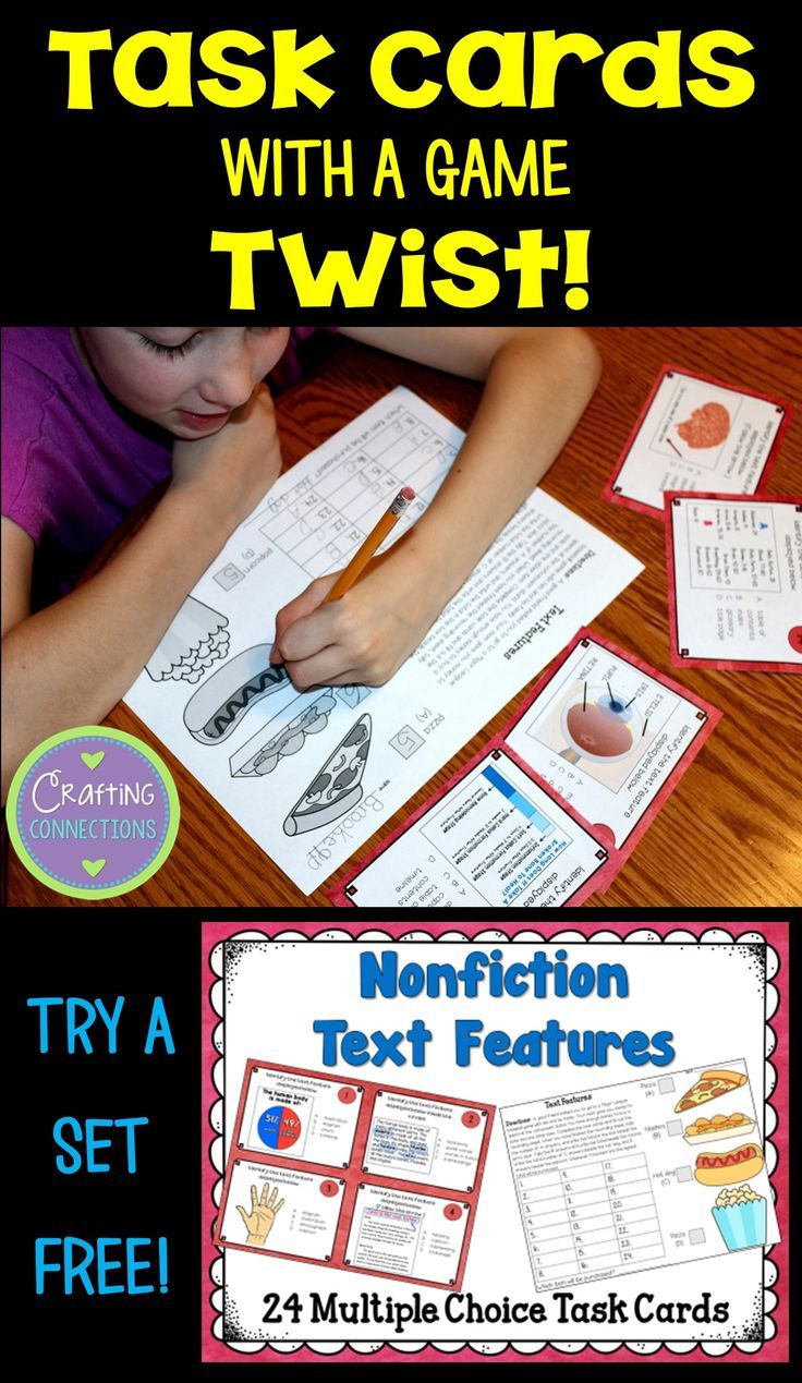 Task Cards with a Game Twist | Nonfiction Text Features | FREE task cards that focus on Nonfiction Text Features!