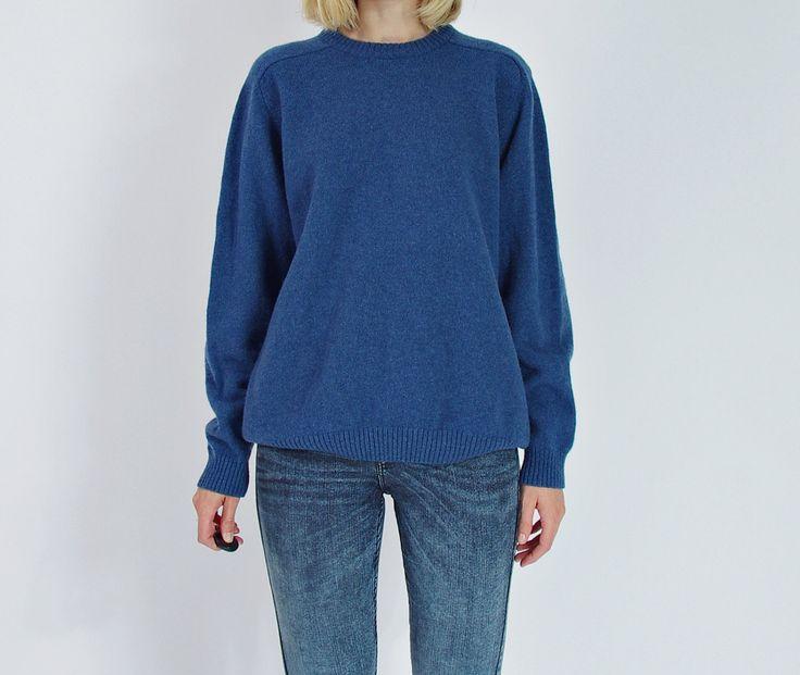 NEW YEAR SALE - Peter Gribby Blue Lambswool Street Style Fall Winter Sweater / Men S/M Women M/L