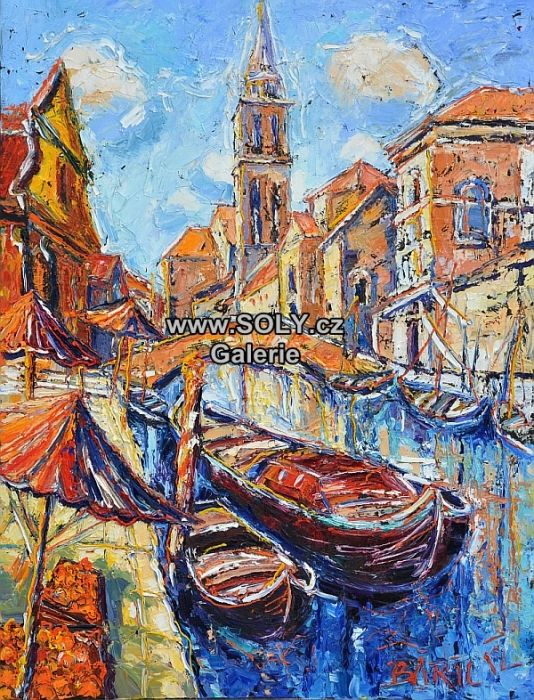 Originální obrazy českého malíře. Olej plátno, 100x75, cena 20000 Kč, lodě, lodičky, vodní kanál, pomeranče