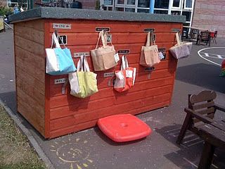 Storage for Smaller Loose Parts--in bags on the outside of a shed.