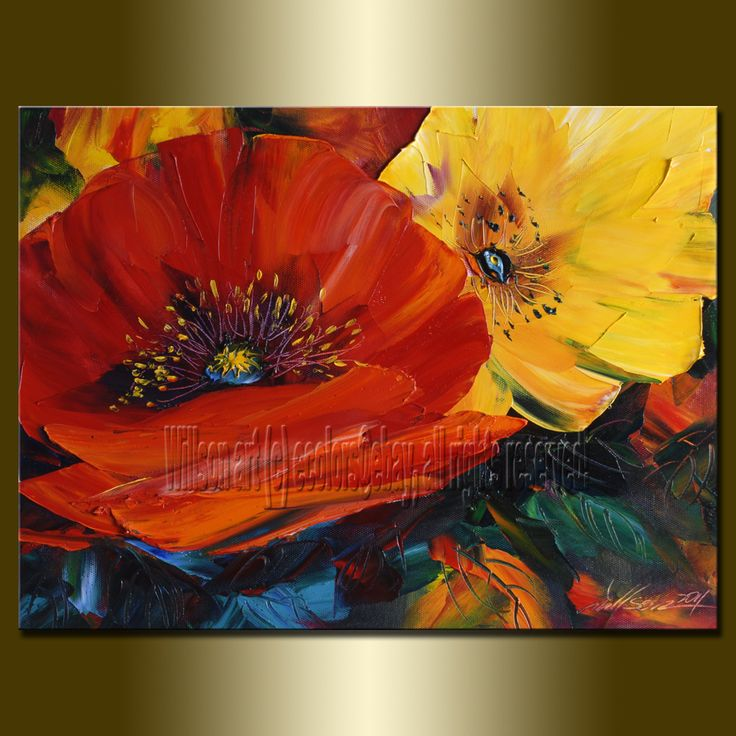 Original abstract floral oil painting poppy poppies ...