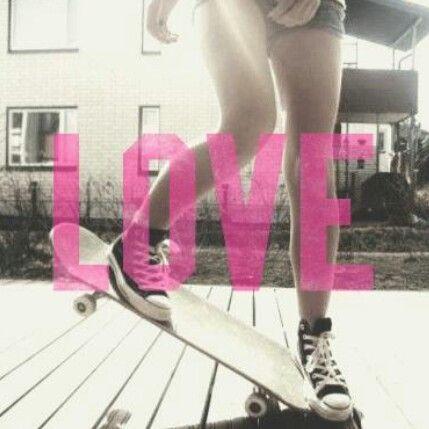 Love pink skateboard girl