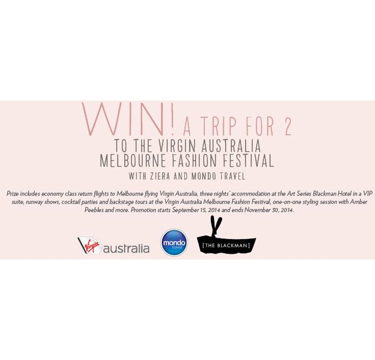 Win with Ziera! Win a trip for 2 to the Virgin Australia Melbourne Fashion Festival 2015, find out how to enter here http://zierashoes.com/page/Melbourne   #Win #VAMFF #ZieraShoes
