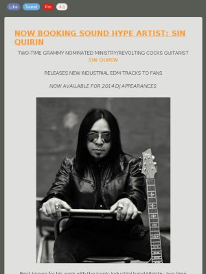 Best known for his work with the iconic industrial band Ministry, two-time Grammy-nominated guitarist Sin Quirin is an authority on the genre. #rock #music Book Sin Quirin now Paige@SoundHype.com