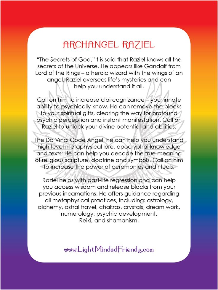 Archangel Raziel card.   Printed on 310gsm laminated, linen card stock. You get an Archangel cards included with our Archangel crystal bracelets, or they're available as a set of seventeen cards!