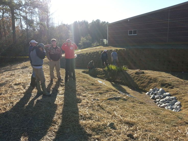 Consulting before the next step on the pocket #wetland at Edgecombe Community College #ptrf ptrf.org