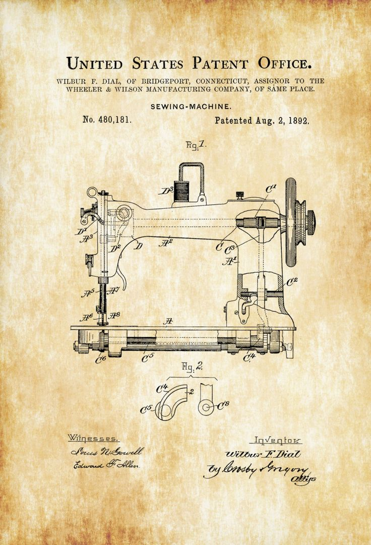 A patent print poster of one of a Sewing Machine invented by Wilbur Dial. The patent was issued by the United States Patent Office on August 2, 1892. Sewing machines were invented during the first Industrial Revolution to decrease the amount of manual sewing work performed in clothing companies.Patent prints allow you to have a ...