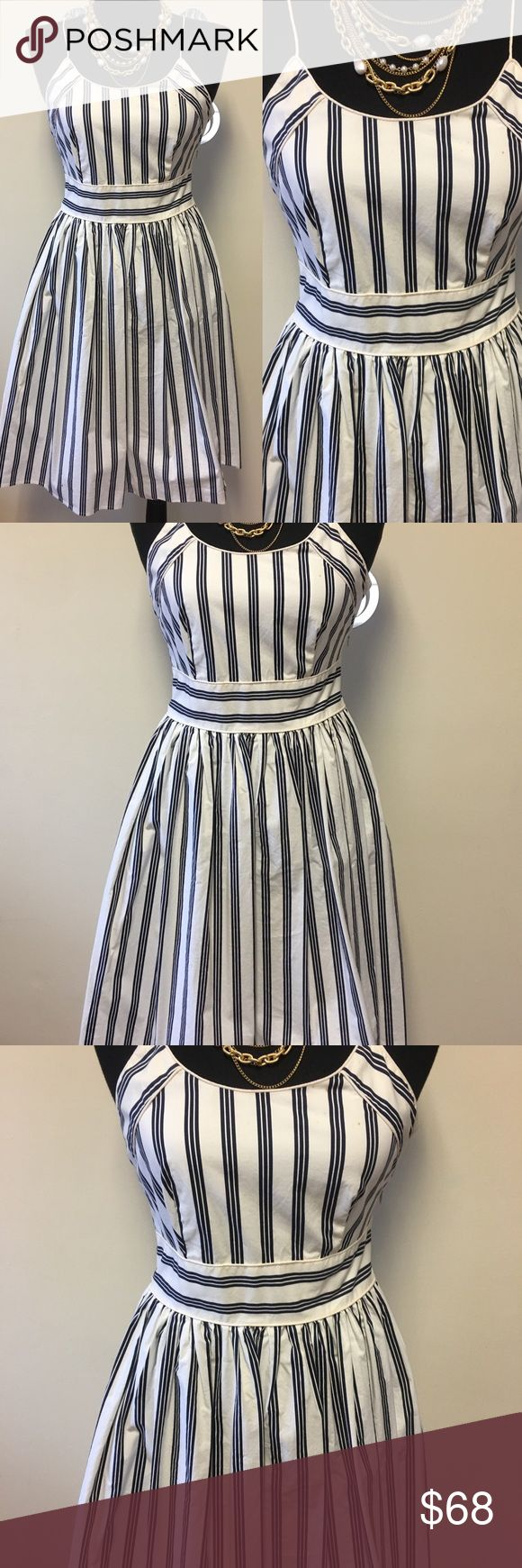 Vtg Navy Stripe Dress Vintage Navy Stripe Dress, very sailor stylish. Size 6, Dress does have a stain in front. Other 9/10 condition. Side zip. Perfect for Sunday Brunch. Bust: 19 Waist: 15 Length: 39. All measurements are flat, approx.   Mannequin is size 8 for reference Vintage Dresses Midi