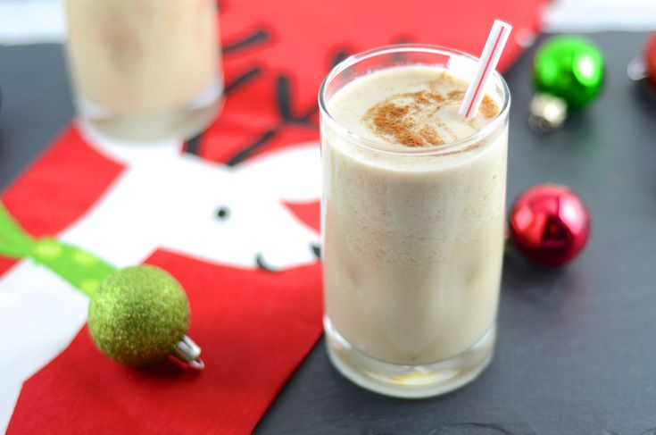 Vegan Egg Nog  Ingredients  1 Banana (frozen)  ½ teaspoon Nutmeg (fresh grated is my favorite)  2 cups Almond Milk  Rum – to taste (see note above)  Instructions  In a blender add all the ingredients  Blend until smooth  Add ice if you like it thicker/colder  Drink up and enjoy!!